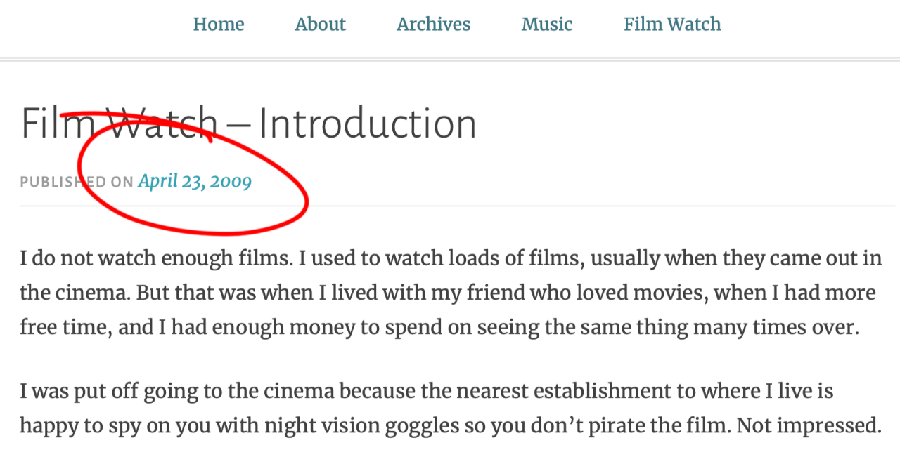 Screenshot of Film Watch - Introduction post